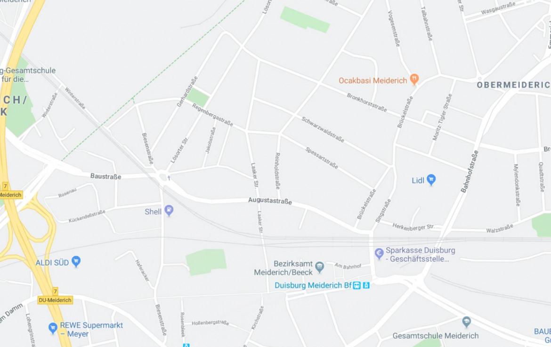 Stadtplanausschnitt DU-Meiderich