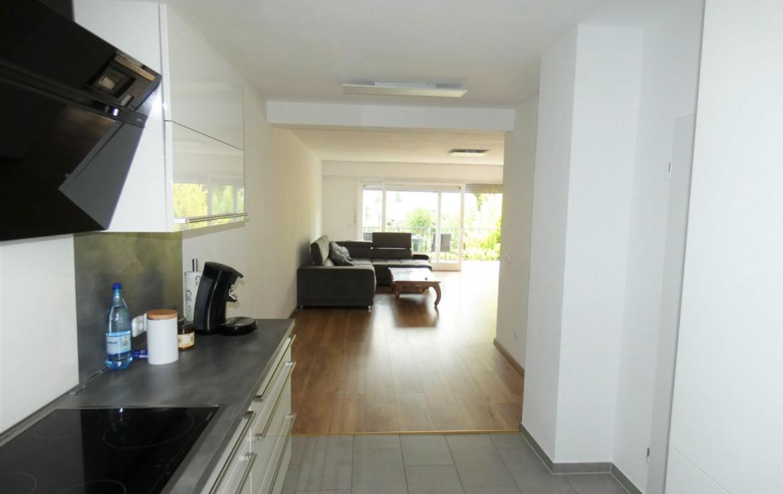 Küche mit Blick ins Wohnzimmer